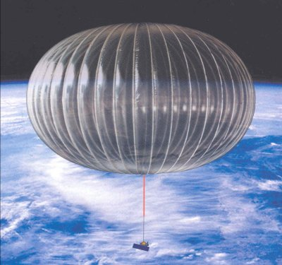 weather balloon floating above earth in space